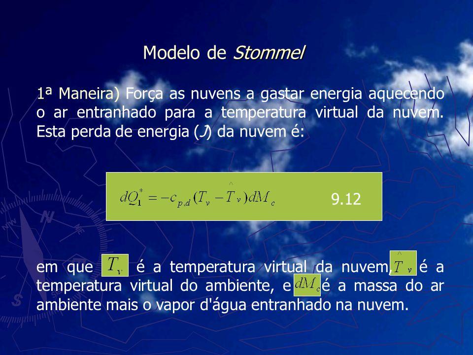 1ª Maneira) Força as nuvens a gastar energia aquecendo o ar entranhado para a temperatura virtual da nuvem. Esta perda de energia (J) da nuvem é: 9.12