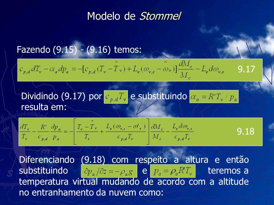 Dividindo (9.17) por e substituindo resulta em: 9.18 Diferenciando (9.18) com respeito a altura e então substituindo e teremos a temperatura virtual m
