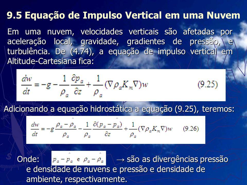 9.5 Equação de Impulso Vertical em uma Nuvem Adicionando a equação hidrostática a equação (9.25), teremos: Onde: são as divergências pressão e densida