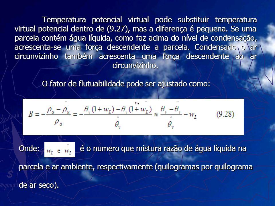 Temperatura potencial virtual pode substituir temperatura virtual potencial dentro de (9.27), mas a diferença é pequena. Se uma parcela contém água lí