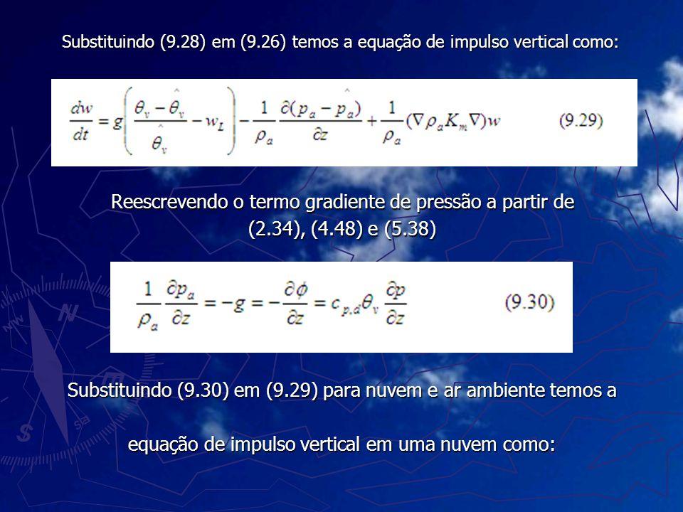 Substituindo (9.28) em (9.26) temos a equação de impulso vertical como: Reescrevendo o termo gradiente de pressão a partir de (2.34), (4.48) e (5.38)