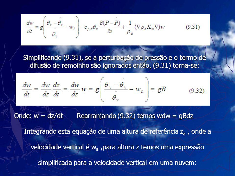 Simplificando (9.31), se a perturbação de pressão e o termo de difusão de remoinho são ignorados então, (9.31) torna-se: Onde: w = dzdt Rearranjando (