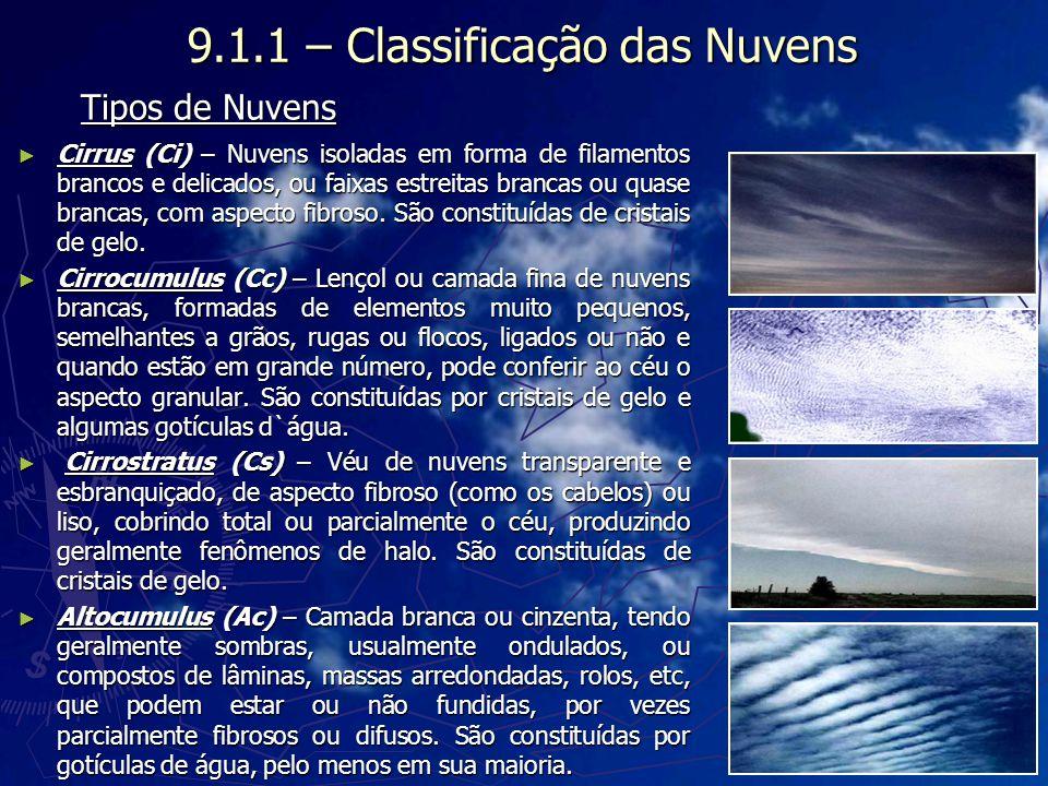 9.1.1 – Classificação das Nuvens Cirrus (Ci) – Nuvens isoladas em forma de filamentos brancos e delicados, ou faixas estreitas brancas ou quase branca