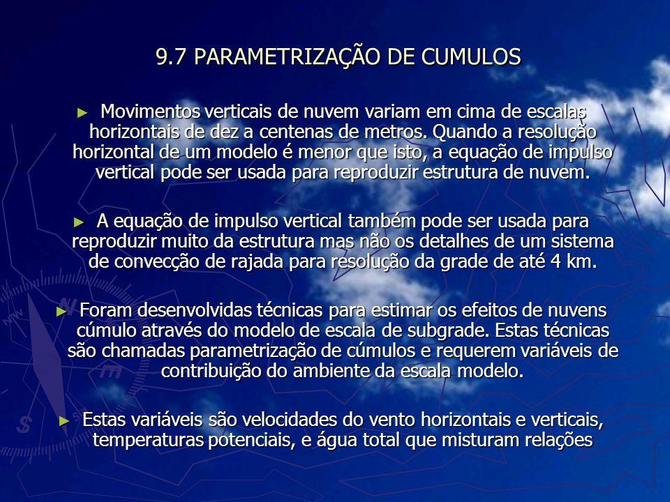 9.7 PARAMETRIZAÇÃO DE CUMULOS Movimentos verticais de nuvem variam em cima de escalas horizontais de dez a centenas de metros. Quando a resolução hori