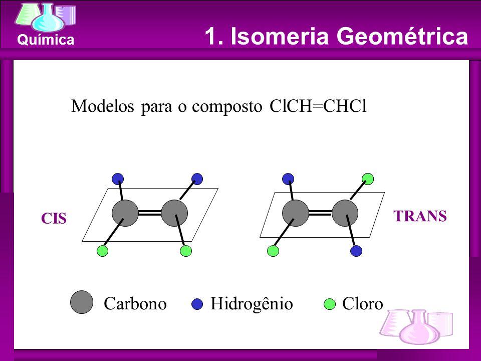 Química 1. Isomeria Geométrica Modelos para o composto ClCH=CHCl Carbono Hidrogênio Cloro CIS TRANS