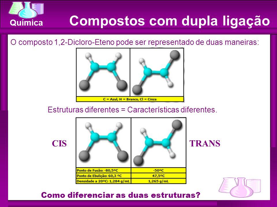 Química Compostos com dupla ligação O composto 1,2-Dicloro-Eteno pode ser representado de duas maneiras: Estruturas diferentes = Características diferentes.