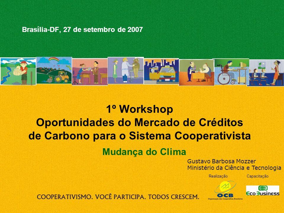 RealizaçãoCapacitação 1º Workshop Oportunidades do Mercado de Créditos de Carbono para o Sistema Cooperativista Brasília-DF, 27 de setembro de 2007 Mu