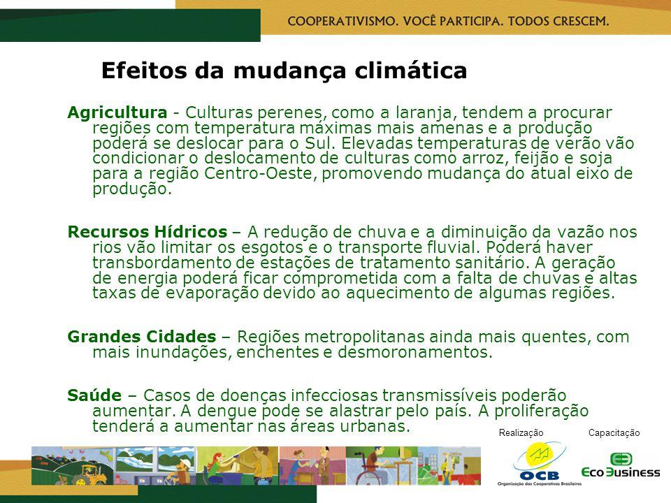 RealizaçãoCapacitação Efeitos da mudança climática Agricultura - Culturas perenes, como a laranja, tendem a procurar regiões com temperatura máximas m