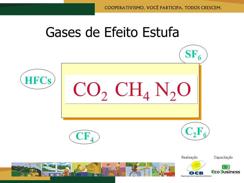 RealizaçãoCapacitação Gases de Efeito Estufa CO 2 CH 4 N 2 O CF 4 SF 6 C2F6C2F6 HFCs