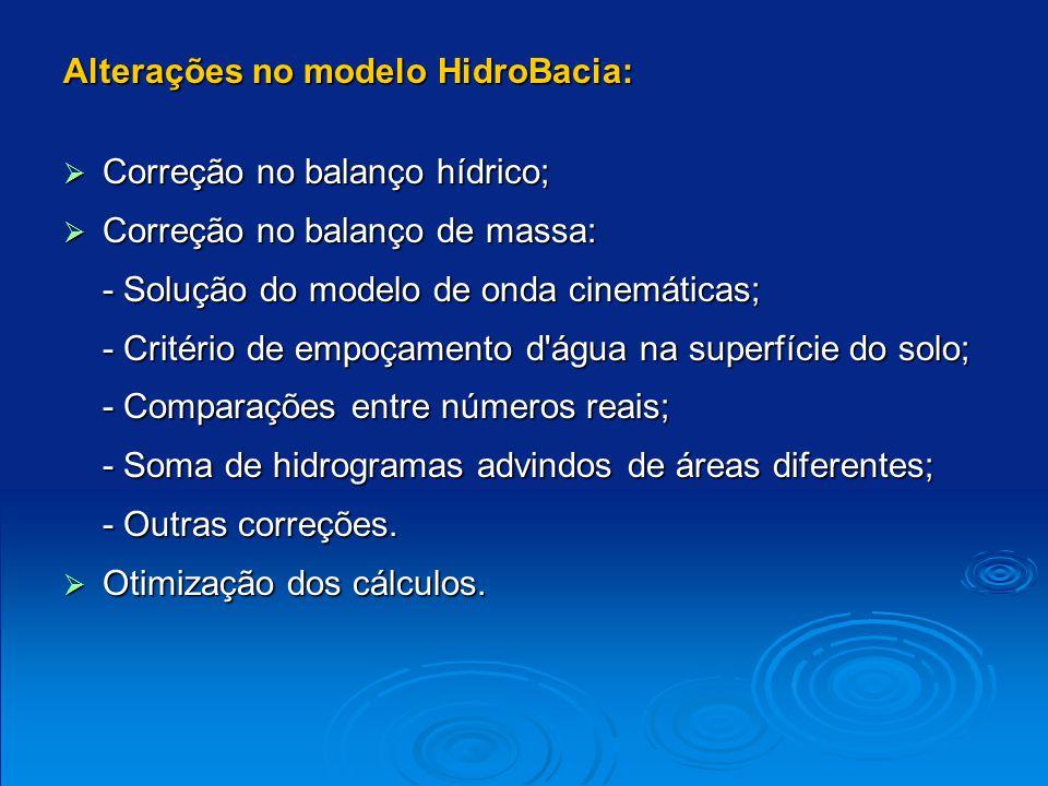 Alterações no modelo HidroBacia: Correção no balanço hídrico; Correção no balanço hídrico; Correção no balanço de massa: Correção no balanço de massa: