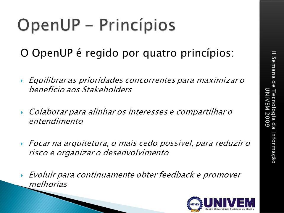 O OpenUP é regido por quatro princípios: Equilibrar as prioridades concorrentes para maximizar o benefício aos Stakeholders Colaborar para alinhar os