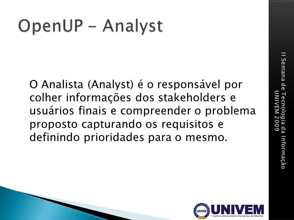 O Analista (Analyst) é o responsável por colher informações dos stakeholders e usuários finais e compreender o problema proposto capturando os requisi