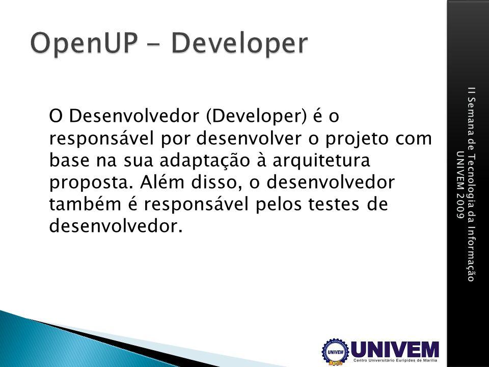 O Desenvolvedor (Developer) é o responsável por desenvolver o projeto com base na sua adaptação à arquitetura proposta. Além disso, o desenvolvedor ta