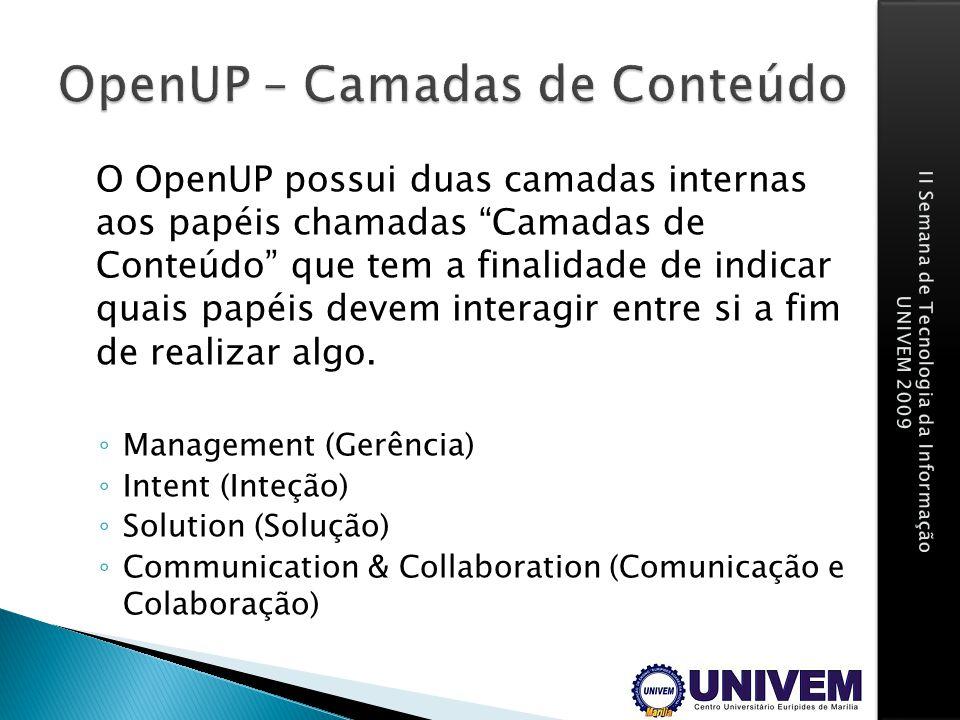 O OpenUP possui duas camadas internas aos papéis chamadas Camadas de Conteúdo que tem a finalidade de indicar quais papéis devem interagir entre si a