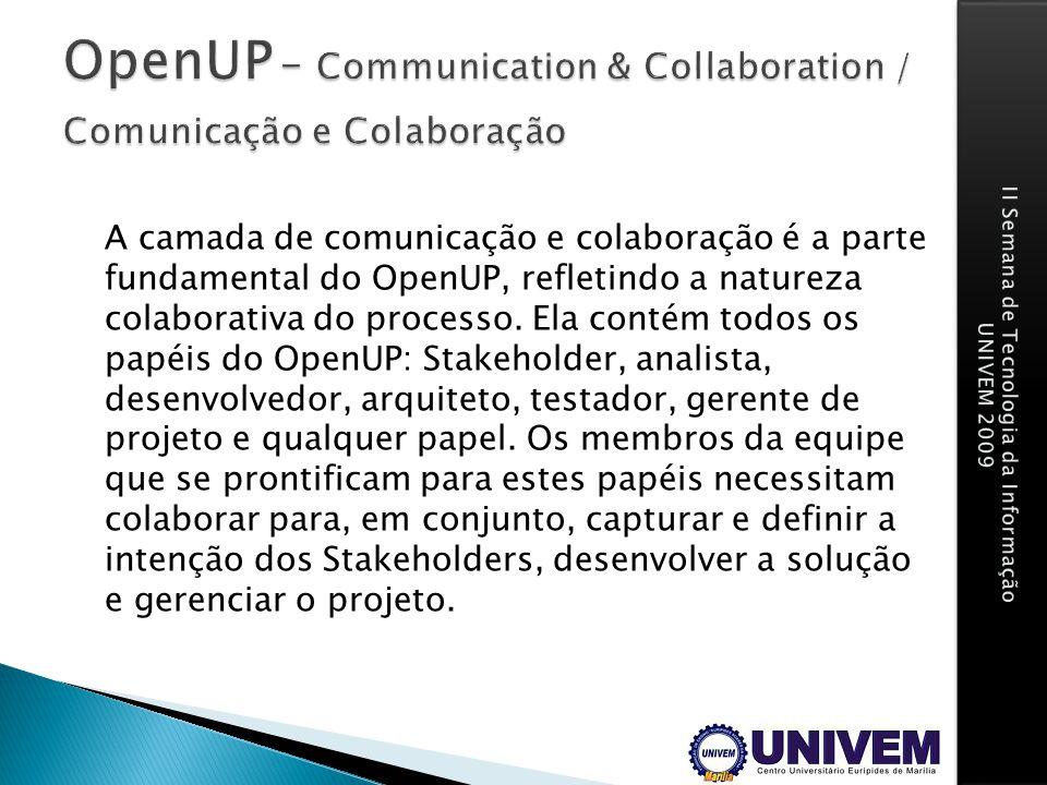 A camada de comunicação e colaboração é a parte fundamental do OpenUP, refletindo a natureza colaborativa do processo. Ela contém todos os papéis do O