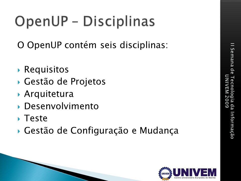 O OpenUP contém seis disciplinas: Requisitos Gestão de Projetos Arquitetura Desenvolvimento Teste Gestão de Configuração e Mudança