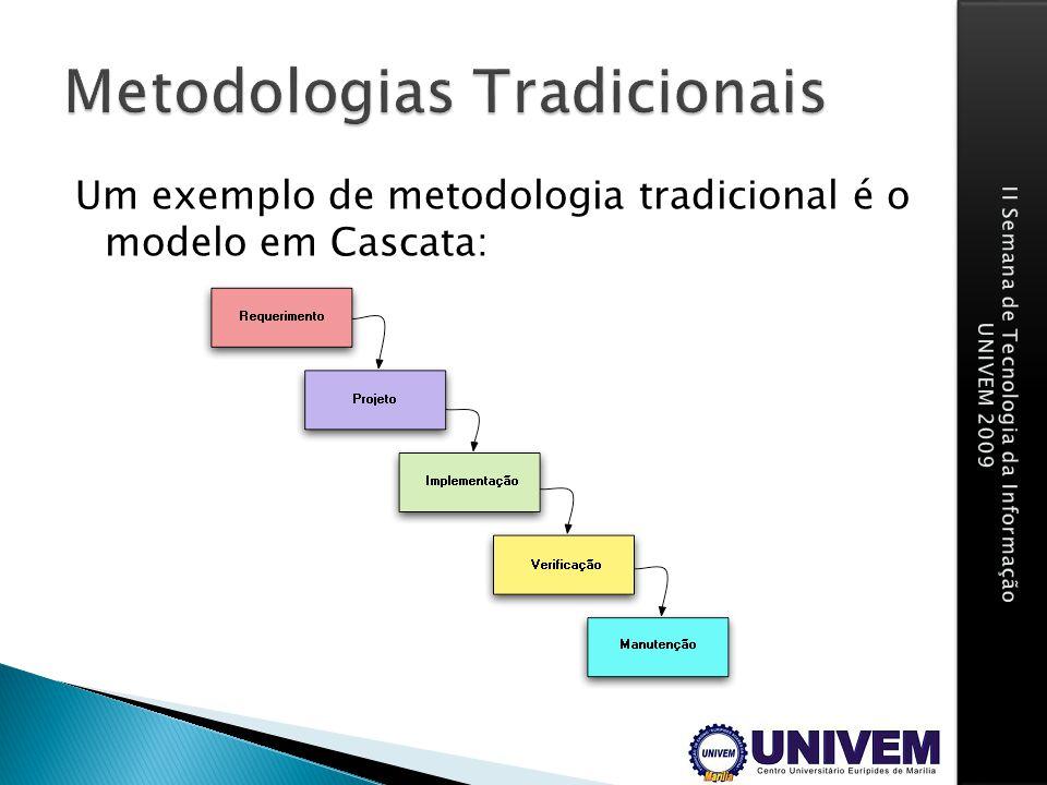 Um exemplo de metodologia tradicional é o modelo em Cascata: