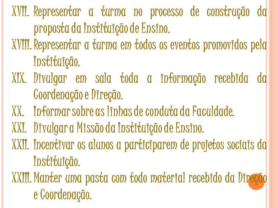 XVII.Representar a turma no processo de construção da proposta da Instituição de Ensino.