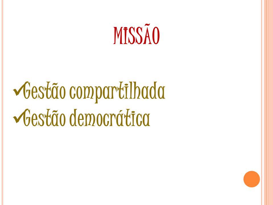 MISSÃO Gestão compartilhada Gestão democrática