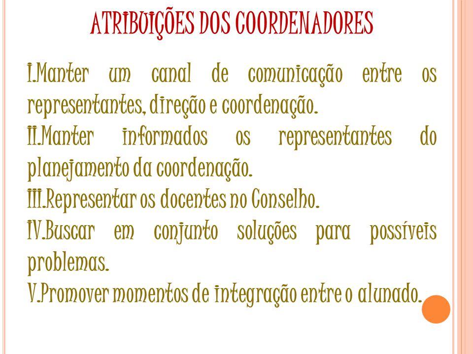 ATRIBUIÇÕES DOS COORDENADORES I.Manter um canal de comunicação entre os representantes, direção e coordenação.