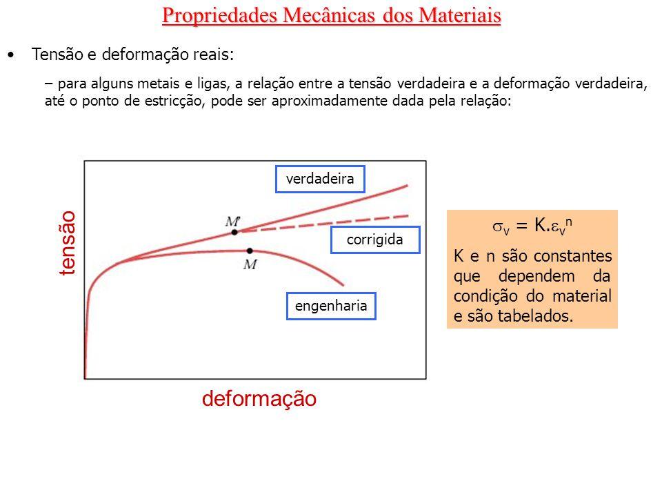 Propriedades Mecânicas dos Materiais Tensão e deformação reais: – para alguns metais e ligas, a relação entre a tensão verdadeira e a deformação verda
