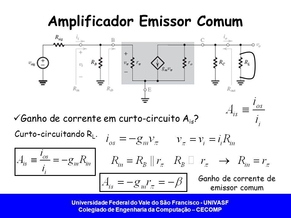Universidade Federal do Vale do São Francisco - UNIVASF Colegiado de Engenharia da Computação – CECOMP Amplificador Emissor Comum Ganho de corrente em