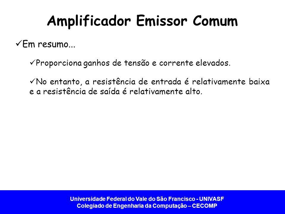 Universidade Federal do Vale do São Francisco - UNIVASF Colegiado de Engenharia da Computação – CECOMP Amplificador Emissor Comum Em resumo... Proporc