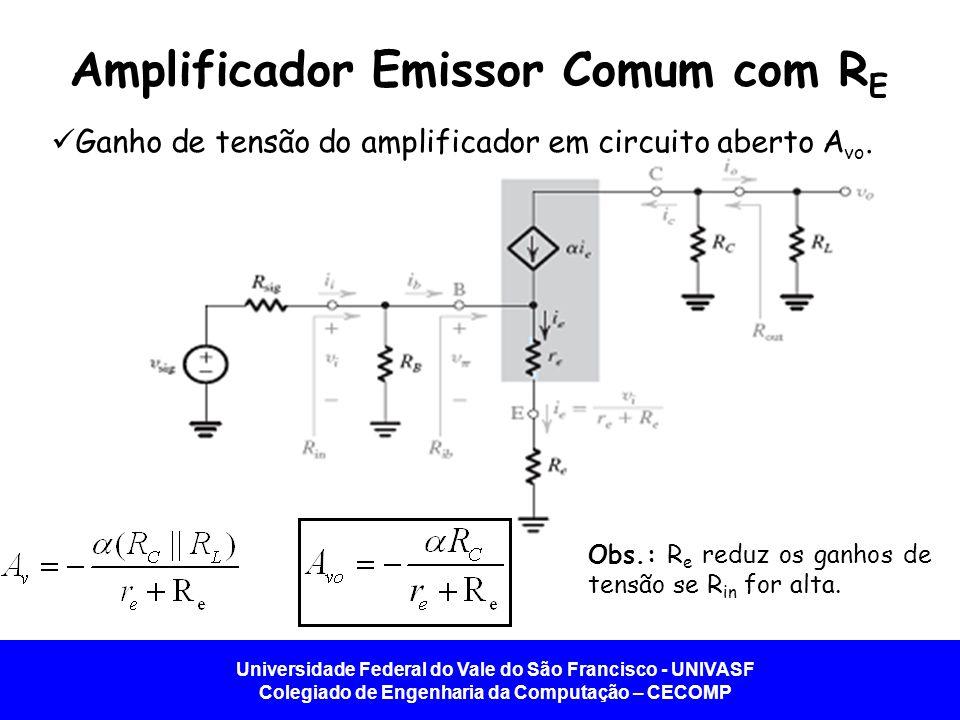 Universidade Federal do Vale do São Francisco - UNIVASF Colegiado de Engenharia da Computação – CECOMP Amplificador Emissor Comum com R E Ganho de ten