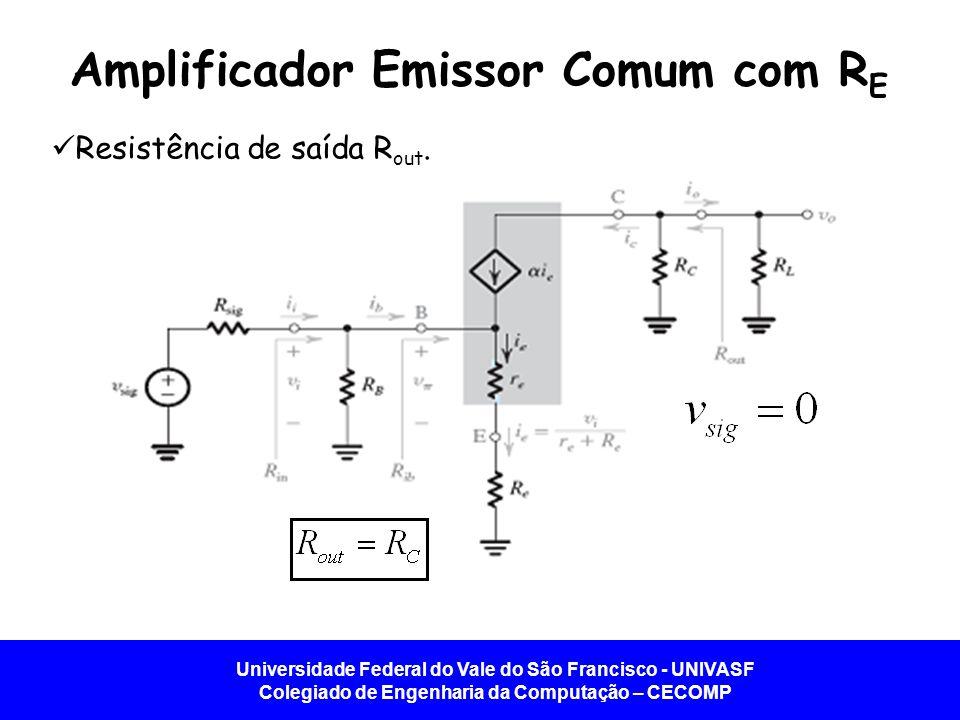 Universidade Federal do Vale do São Francisco - UNIVASF Colegiado de Engenharia da Computação – CECOMP Amplificador Emissor Comum com R E Resistência