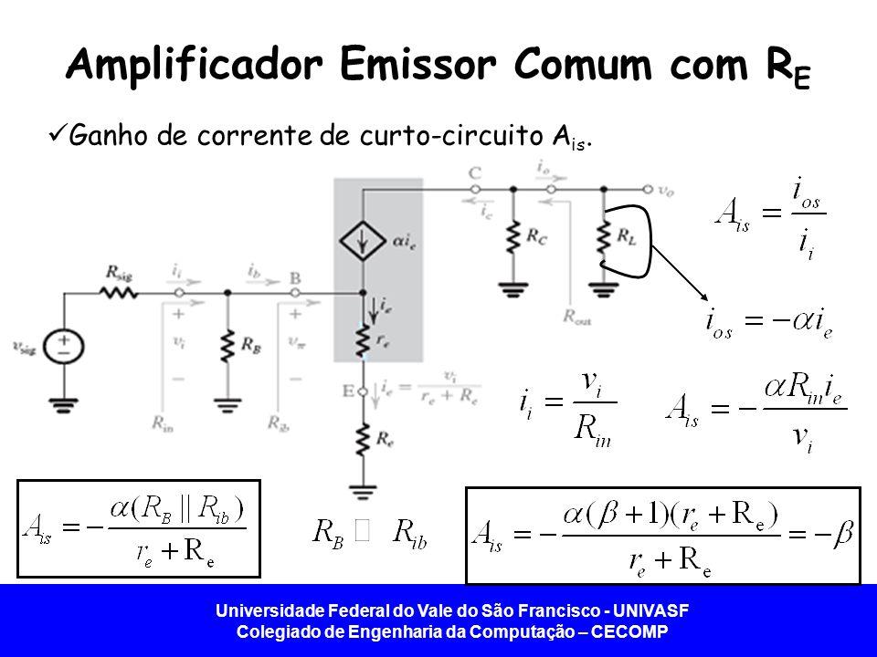 Universidade Federal do Vale do São Francisco - UNIVASF Colegiado de Engenharia da Computação – CECOMP Amplificador Emissor Comum com R E Ganho de cor