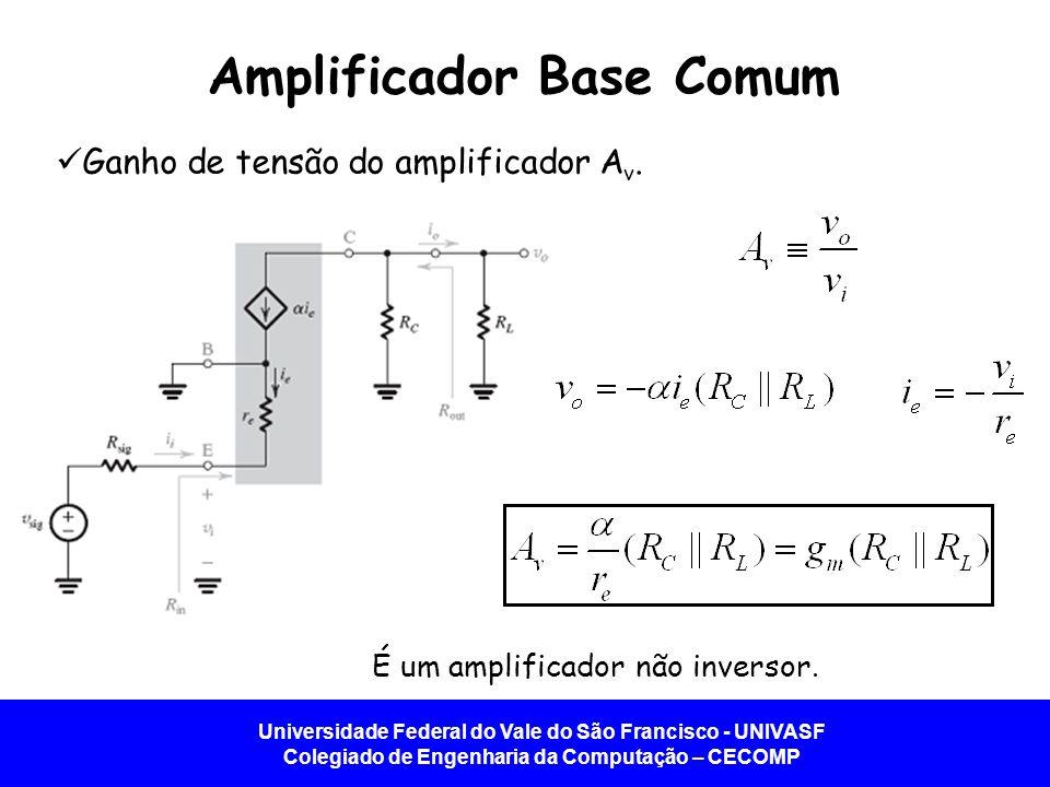 Universidade Federal do Vale do São Francisco - UNIVASF Colegiado de Engenharia da Computação – CECOMP Amplificador Base Comum Ganho de tensão do ampl