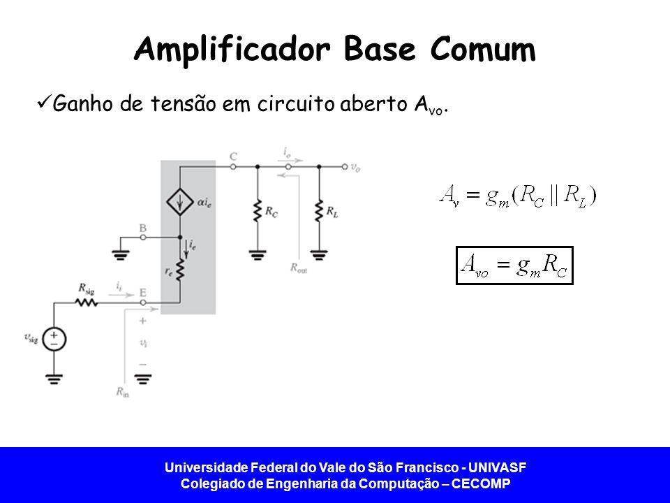 Universidade Federal do Vale do São Francisco - UNIVASF Colegiado de Engenharia da Computação – CECOMP Amplificador Base Comum Ganho de tensão em circ