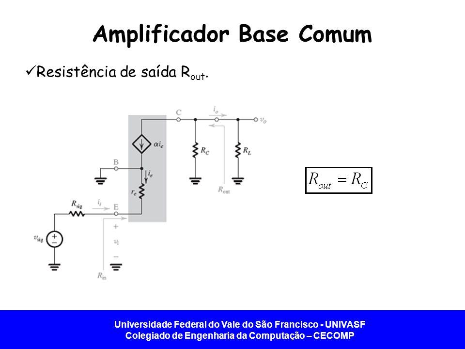 Universidade Federal do Vale do São Francisco - UNIVASF Colegiado de Engenharia da Computação – CECOMP Amplificador Base Comum Resistência de saída R