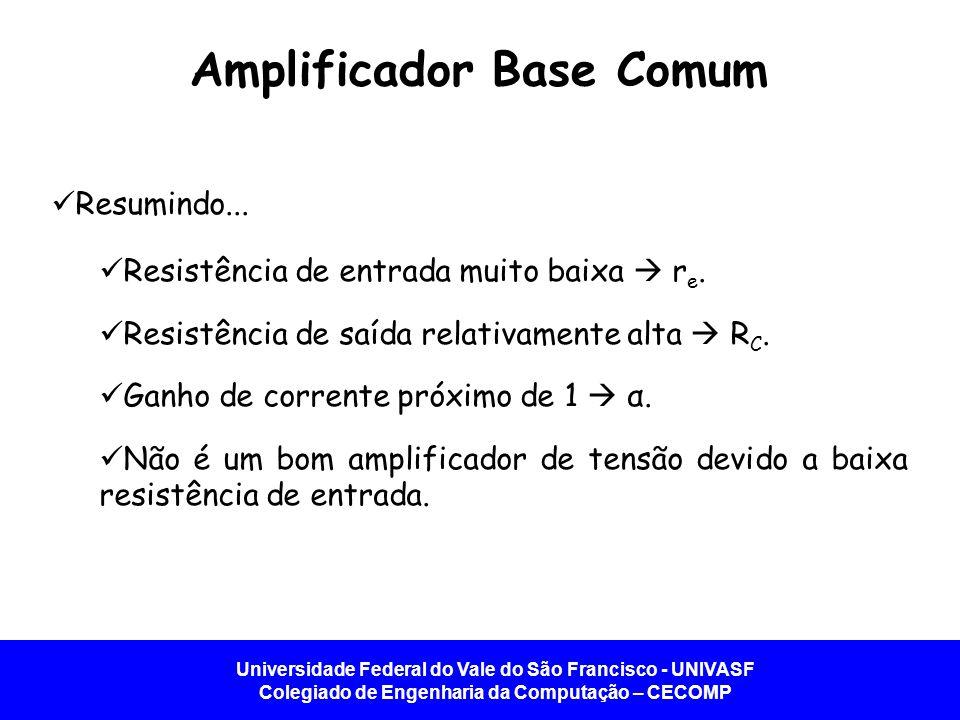 Universidade Federal do Vale do São Francisco - UNIVASF Colegiado de Engenharia da Computação – CECOMP Amplificador Base Comum Resumindo... Resistênci