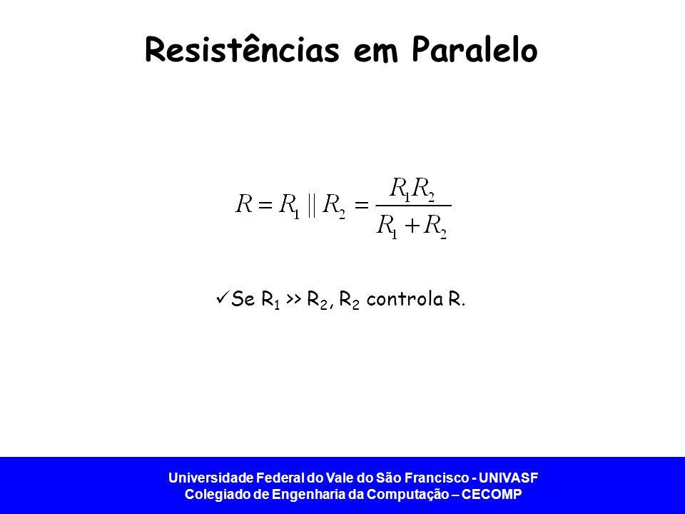 Universidade Federal do Vale do São Francisco - UNIVASF Colegiado de Engenharia da Computação – CECOMP Resistências em Paralelo Se R 1 >> R 2, R 2 con
