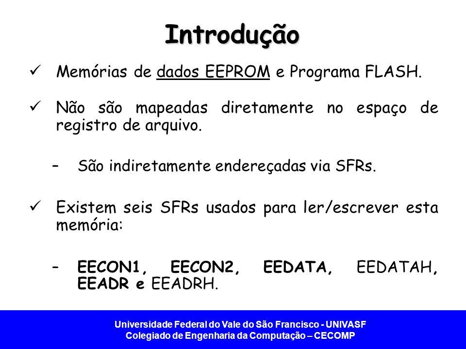 Universidade Federal do Vale do São Francisco - UNIVASF Colegiado de Engenharia da Computação – CECOMP Dados EEPROM Bloco memória de dados - EEPROM.