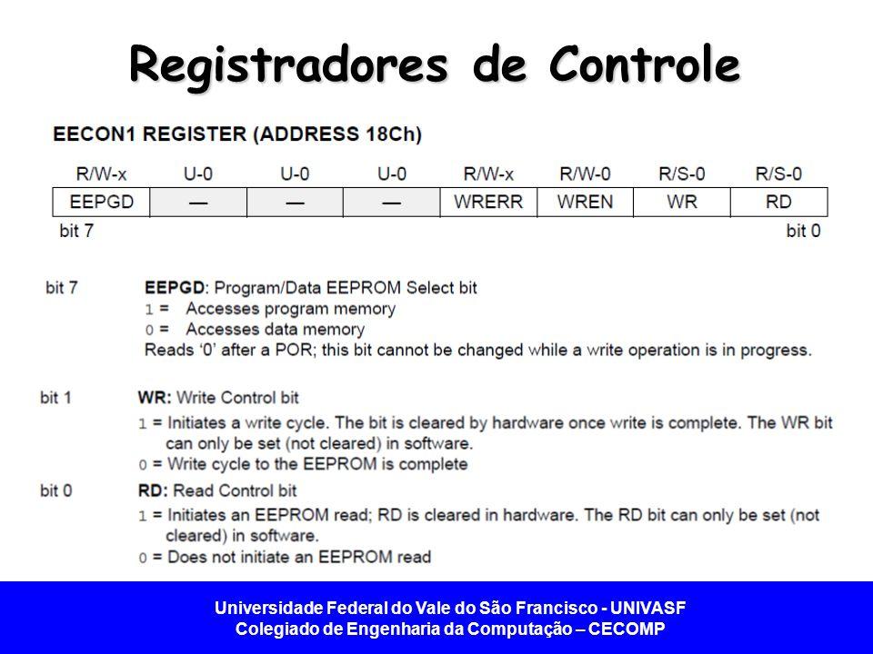 Universidade Federal do Vale do São Francisco - UNIVASF Colegiado de Engenharia da Computação – CECOMP Registradores de Controle Quando uma escrita for finalizada, o bit EEIF de PIR2 será setado, e deverá ser zerado via software.
