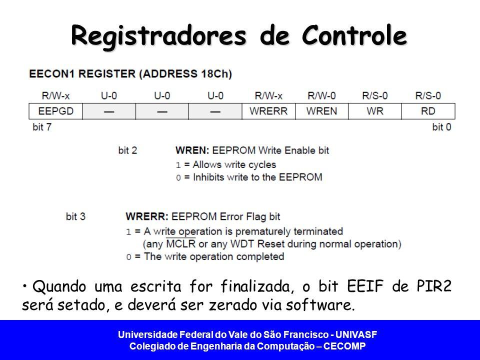 Universidade Federal do Vale do São Francisco - UNIVASF Colegiado de Engenharia da Computação – CECOMP Registradores de Controle Quando uma escrita fo