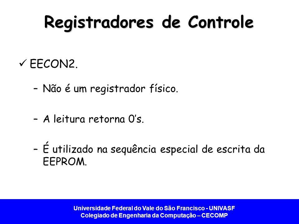 Universidade Federal do Vale do São Francisco - UNIVASF Colegiado de Engenharia da Computação – CECOMP Registradores de Controle EECON2. –Não é um reg