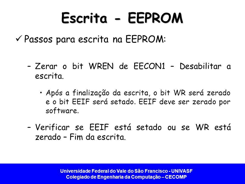 Universidade Federal do Vale do São Francisco - UNIVASF Colegiado de Engenharia da Computação – CECOMP Escrita - EEPROM Passos para escrita na EEPROM:
