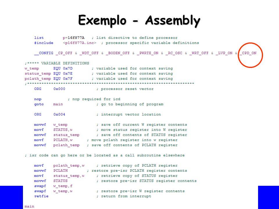 Universidade Federal do Vale do São Francisco - UNIVASF Colegiado de Engenharia da Computação – CECOMP Exemplo - Assembly