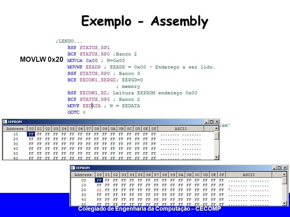Universidade Federal do Vale do São Francisco - UNIVASF Colegiado de Engenharia da Computação – CECOMP Exemplo - Assembly MOVLW 0x20
