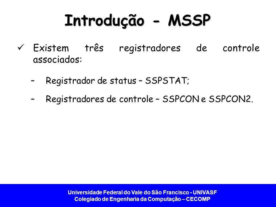 Universidade Federal do Vale do São Francisco - UNIVASF Colegiado de Engenharia da Computação – CECOMP Introdução - MSSP Existem três registradores de