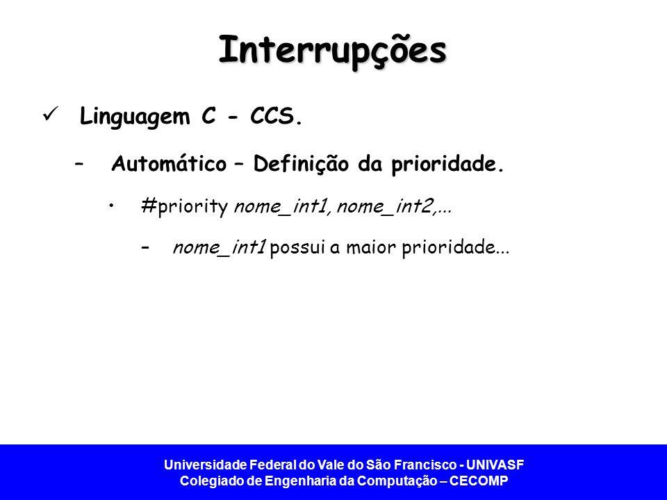 Universidade Federal do Vale do São Francisco - UNIVASF Colegiado de Engenharia da Computação – CECOMP Interrupções Linguagem C - CCS.