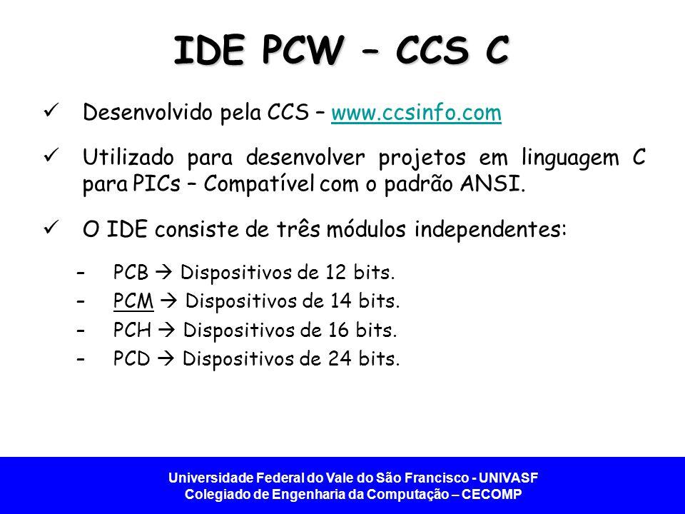 Universidade Federal do Vale do São Francisco - UNIVASF Colegiado de Engenharia da Computação – CECOMP IDE PCW – CCS C Desenvolvido pela CCS – www.ccsinfo.comwww.ccsinfo.com Utilizado para desenvolver projetos em linguagem C para PICs – Compatível com o padrão ANSI.