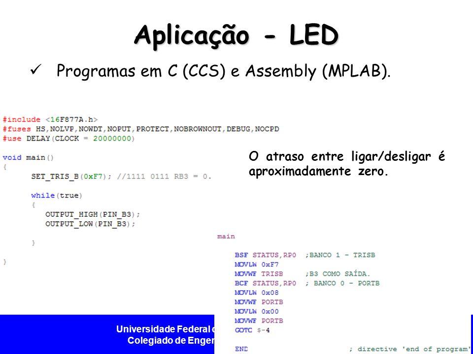 Universidade Federal do Vale do São Francisco - UNIVASF Colegiado de Engenharia da Computação – CECOMP Aplicação - LED Programas em C (CCS) e Assembly (MPLAB).