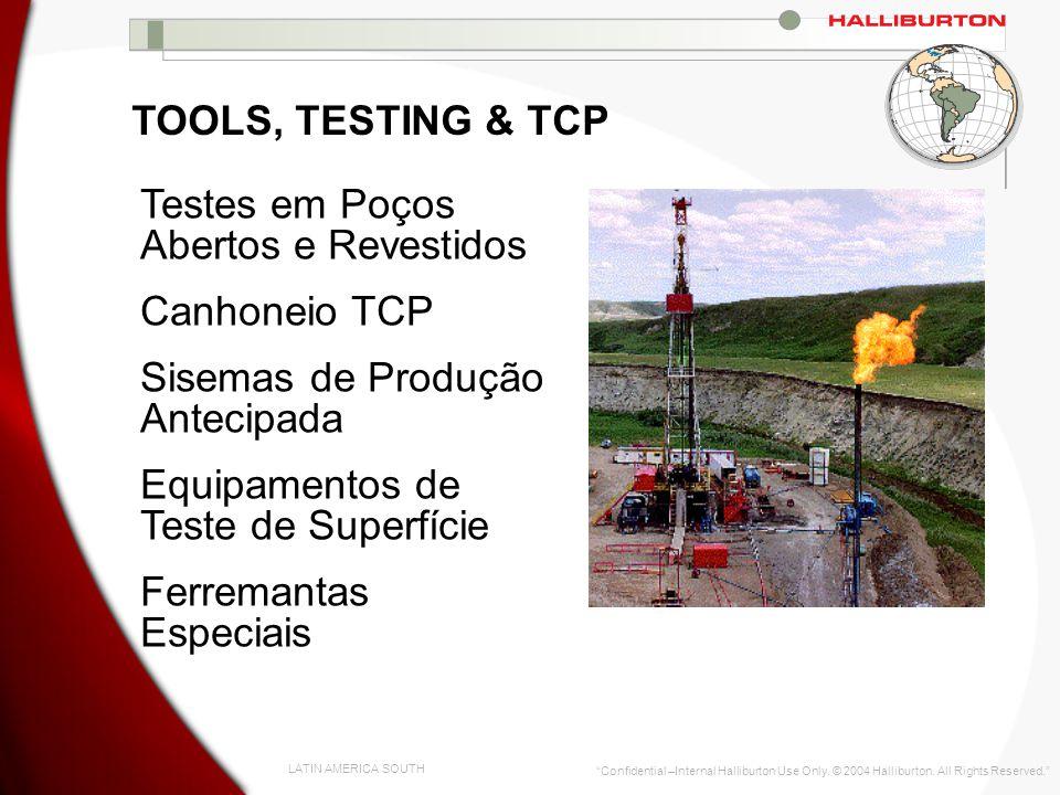 LATIN AMERICA SOUTH Confidential –Internal Halliburton Use Only. © 2004 Halliburton. All Rights Reserved. TOOLS, TESTING & TCP Testes em Poços Abertos