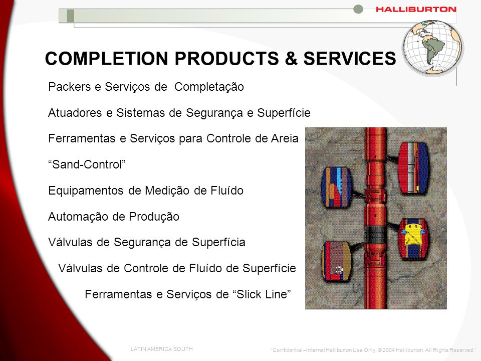 LATIN AMERICA SOUTH Confidential –Internal Halliburton Use Only. © 2004 Halliburton. All Rights Reserved. COMPLETION PRODUCTS & SERVICES Packers e Ser
