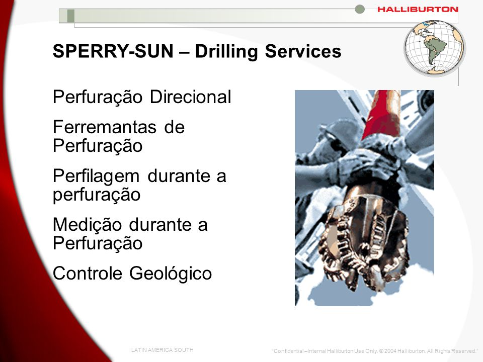 LATIN AMERICA SOUTH Confidential –Internal Halliburton Use Only. © 2004 Halliburton. All Rights Reserved. SPERRY-SUN – Drilling Services Perfuração Di