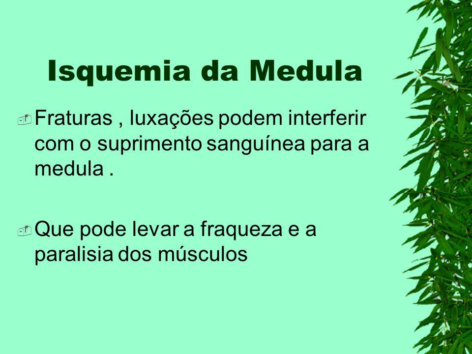 Isquemia da Medula Fraturas, luxações podem interferir com o suprimento sanguínea para a medula. Que pode levar a fraqueza e a paralisia dos músculos